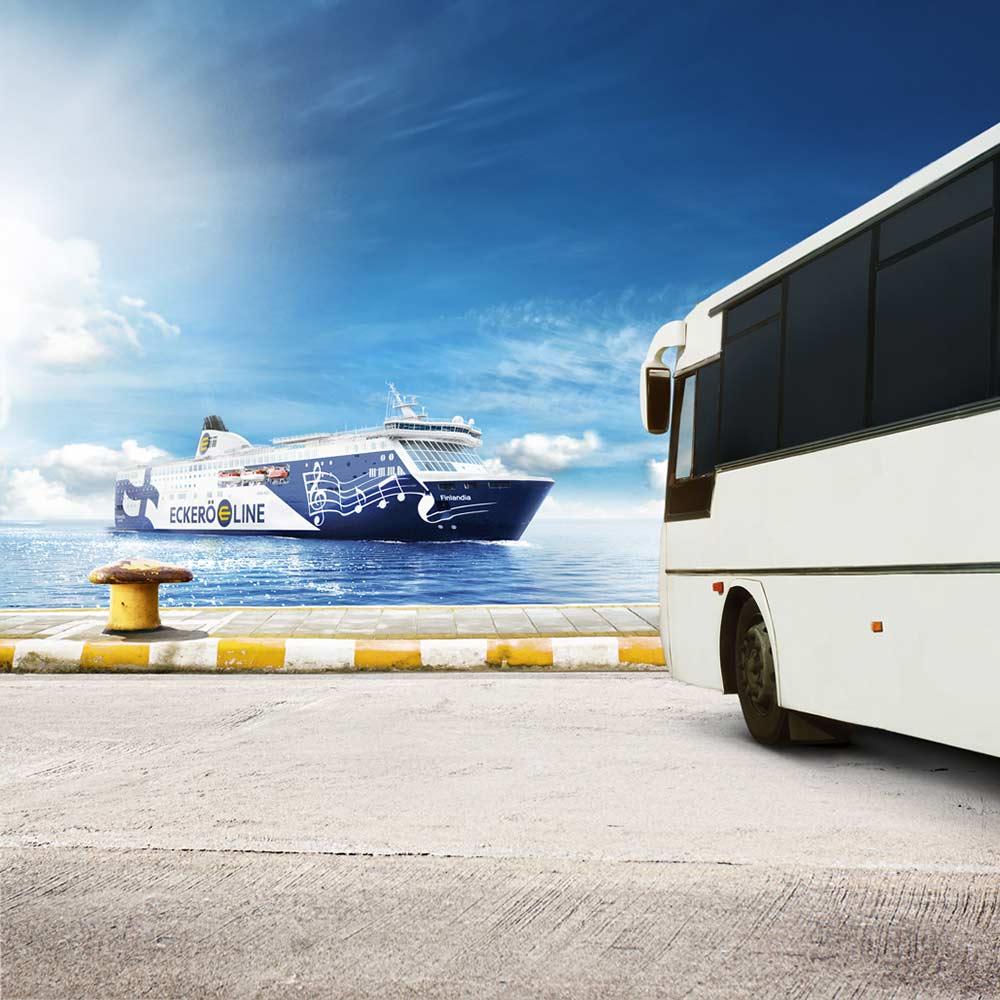 Kaukoliikenteen bussiyhteydet satamaan